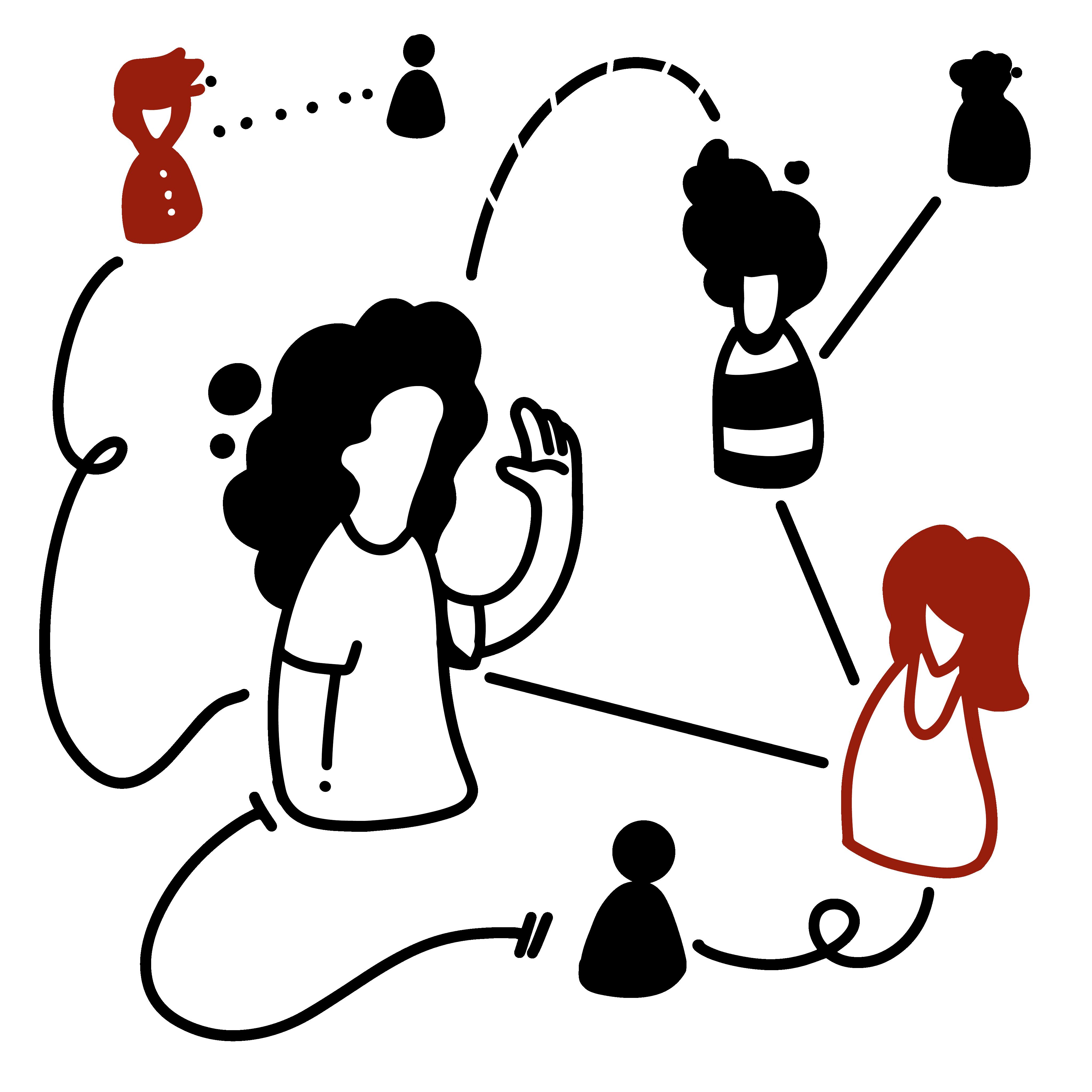Illustration - Verschiedene Personen kommunizieren miteinander