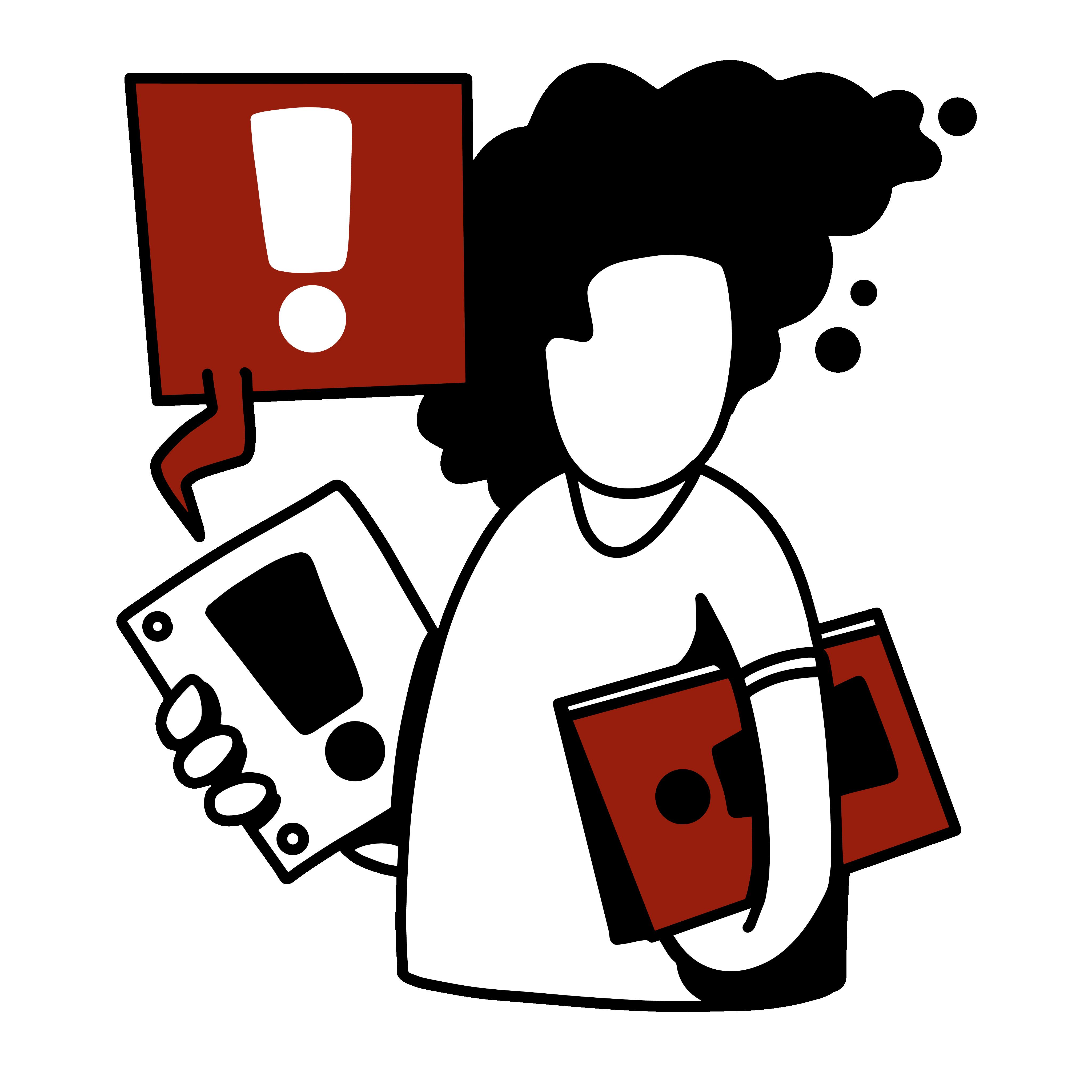 Illustration - Person hält Informationsmaterial in den Händen