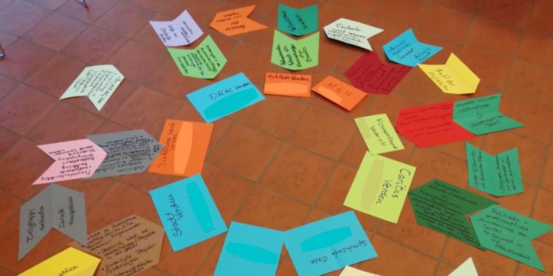 Auf dem Boden liegen Arbeitsergebnisse in einem Kreis.